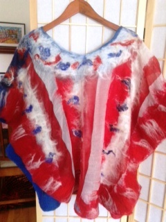 Red white and blue Wet Nuno Felted Scarf shawl