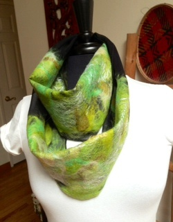 Black and Green Wet Nuno Felted Scarf