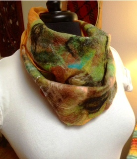 Orange and Green Wet Nuno Felted Scarf