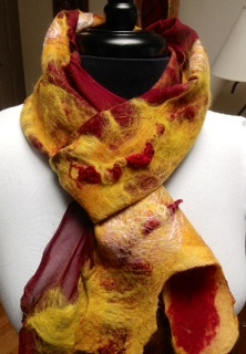 Red and Orange Wet Nuno Felted Scarf