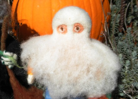 Needle Felted Trick or treater ghost and witch