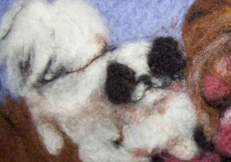 Black and White Dogs Needle Felted Wool Painting