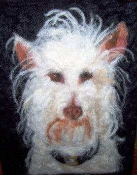 Brown and White Dog Needle Felted Wool Painting