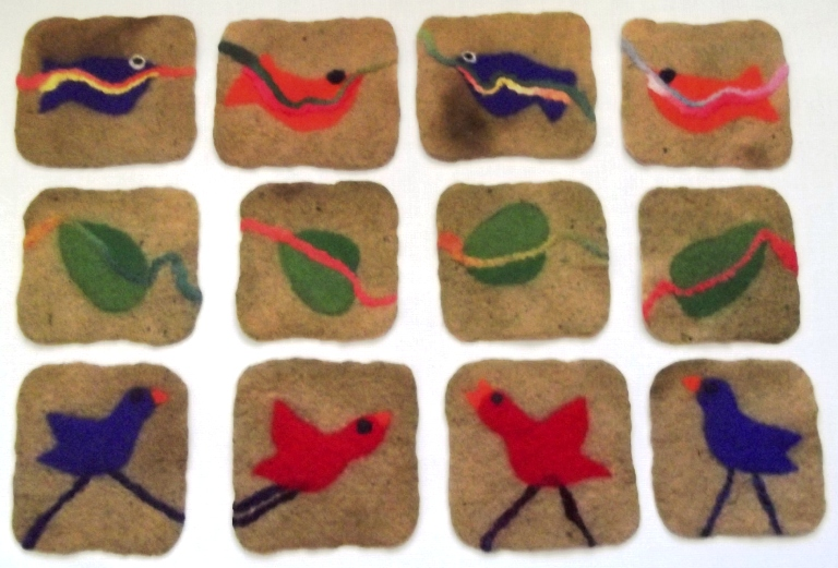 Wet Felted Coasters with Birds Leaves and Fish