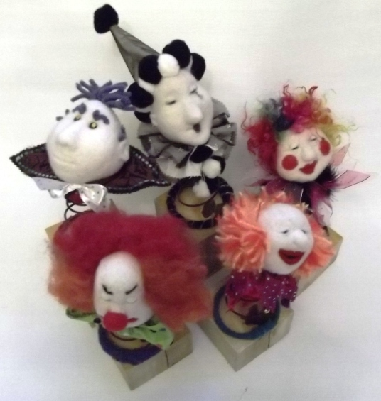 Needle Felted Clowns on Springs