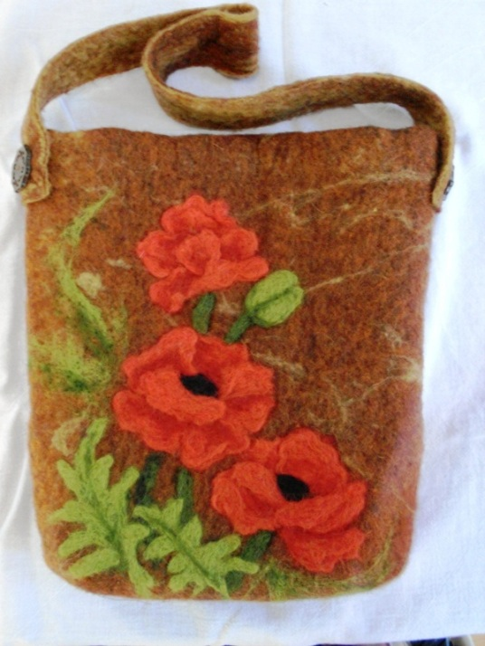 Oriental Poppies Needle Felted Purse