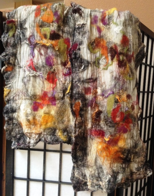 autumn leaves wet nuno felted scarf