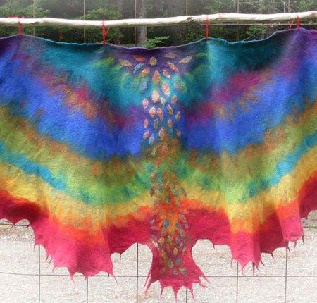 vibrant nuno felt bird shawl