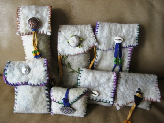 Repurposed Wet Felted Quilt Pouches