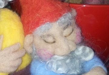 needle felted sleepy gnomes
