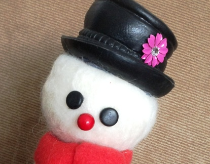 Needle Felted Snowman with red scarf