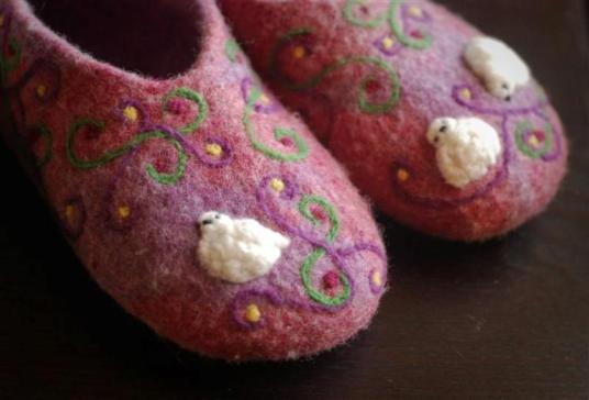 Pink wet and needle felted slippers with white birds