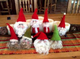 needle felted santa heads christmas