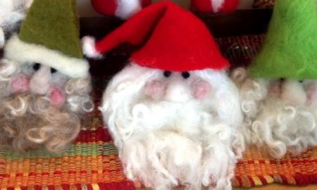 needle felted santa heads christmas
