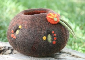 wet felted vessel with needle felted accents
