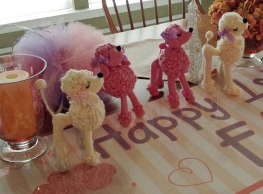 Needle Felted Poodles at Birthday Party