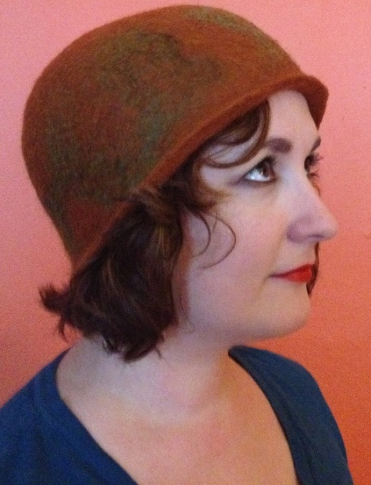 Needle and wet felted vintage hat