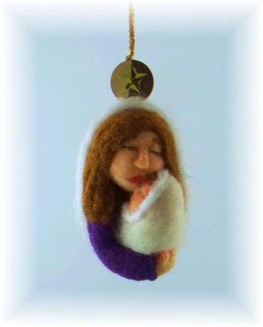 Needle Felted Ornament Mary and Baby Jesus
