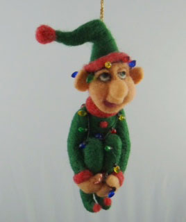 needle felted christmas ornament - elf