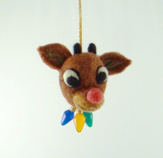 Needle Felted Ornament Reindeer