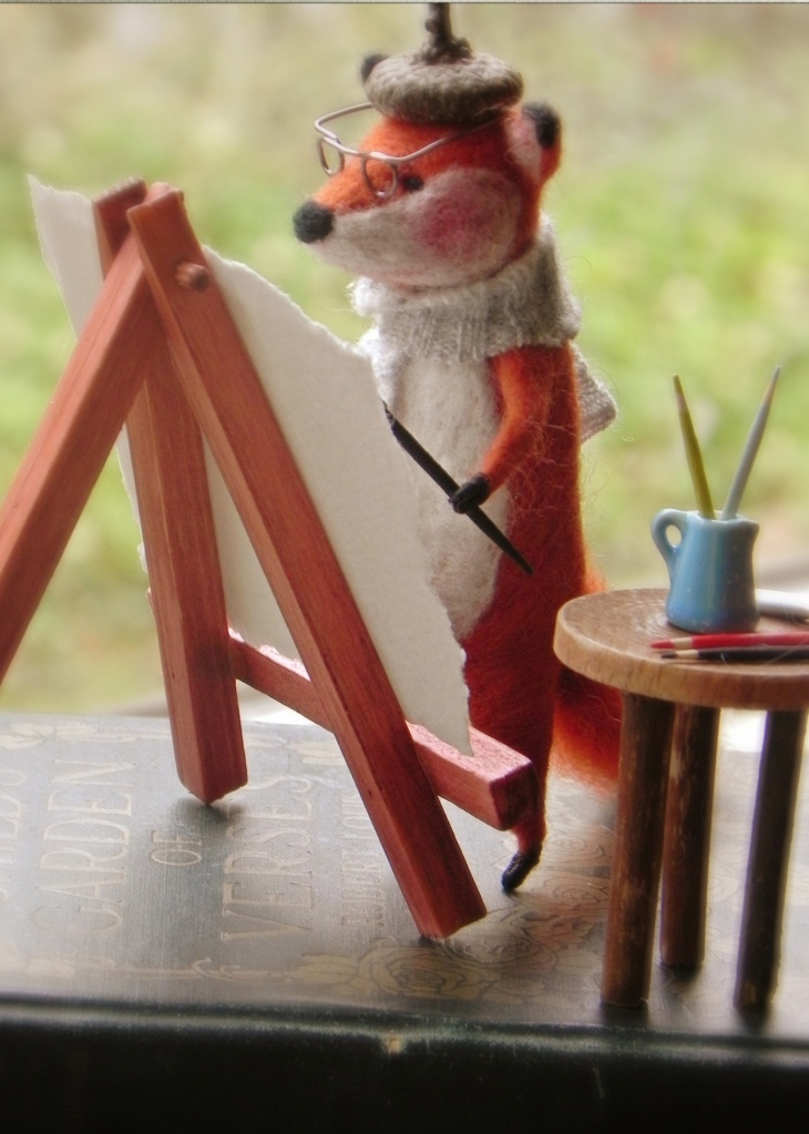Amy Brand Sweet Pea Felts Needle Felted Fox Painting