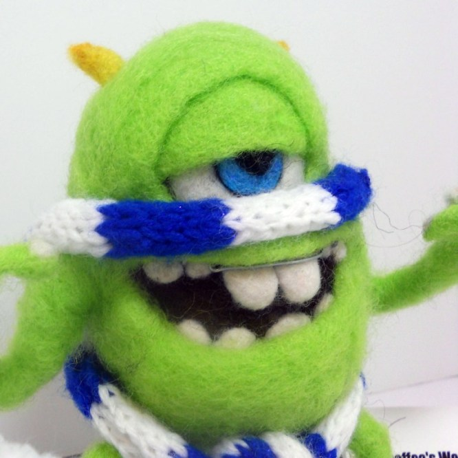 Mike Monsters Inc Needle Felted with scarf and hat