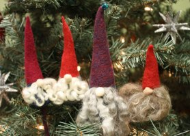 needle felted christmas gnome ornaments