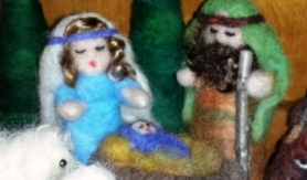 needle felted nativity scene