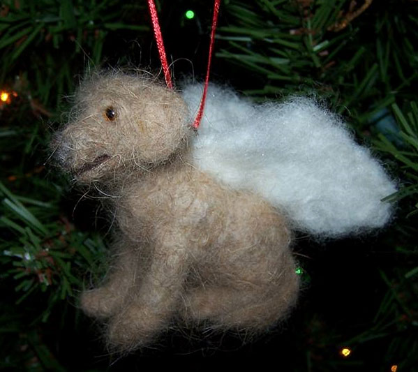 needle felted dog ornament