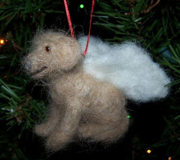 needle felted dog ornament