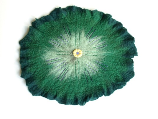 wet felted flower green circle wall hanging