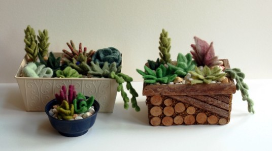 wet felted succulents
