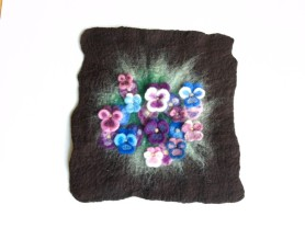wet felted flowers pansy wall hanging