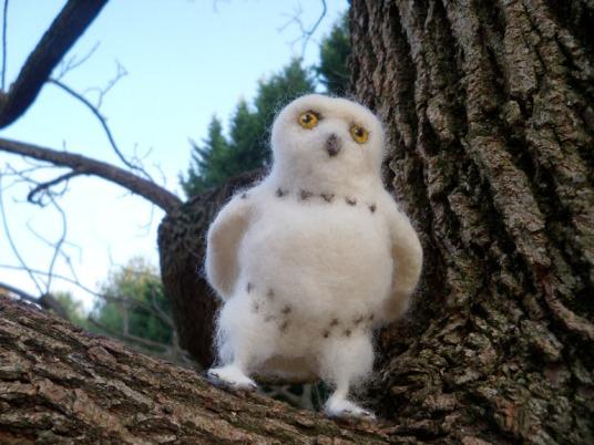 needle felted snow owl