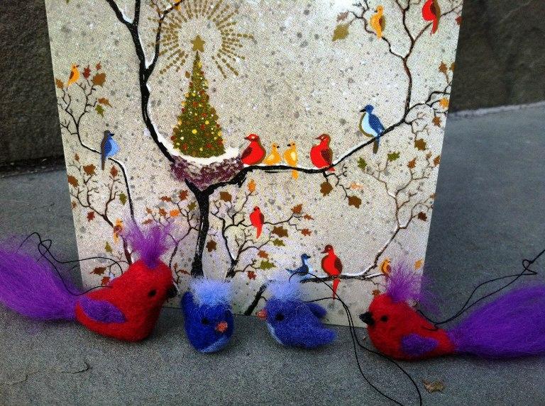 Colorful needle felted bird themed christmas living felt