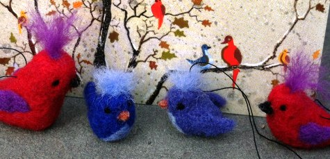 Needle Felted christmas birds