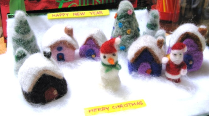 needle felted winter wonderland snowman houses