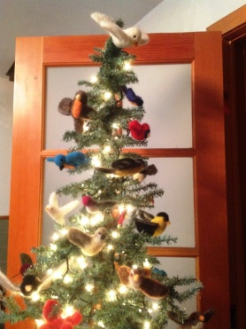 Needle Felted birds on christmas tree