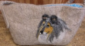 Needle Felted Collie Purse