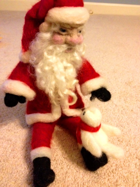 needle felted santa with bird