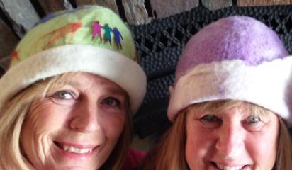 Wet felted hats over gertie ball