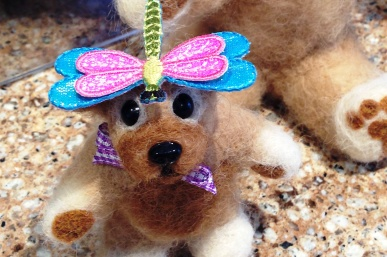 needle felted teddy bear with dragonfly
