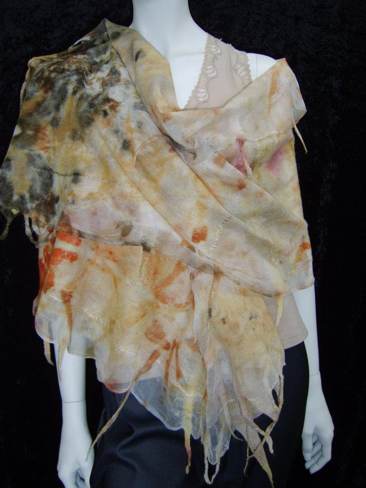 An eco-dyedd nuno felt wrap by Joni Cornell