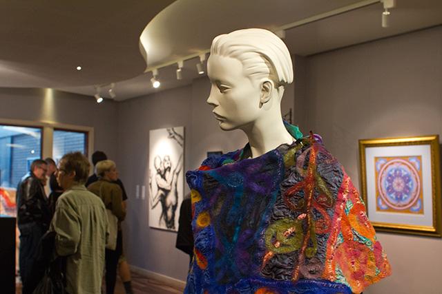Ten Fabrics Gathering, an artful nuno felt wrap by Joni Cornell