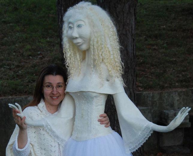 Needle Felted White World Doll Aella Una