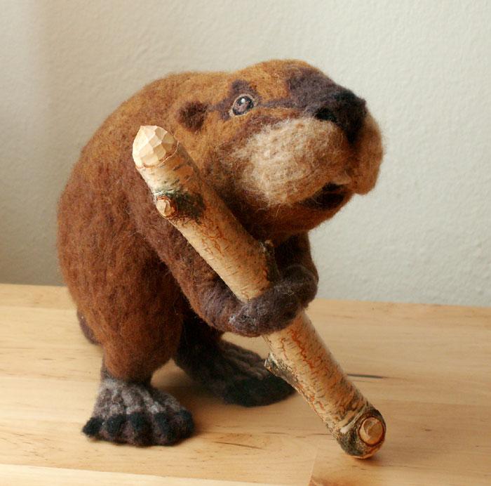 Realistic Needle Felted Beaver