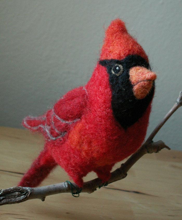 needle felted cardinal mc-1 wool batts