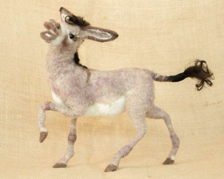 Needle Felted Donkey by Megan Nedds of The Woolen Wagon