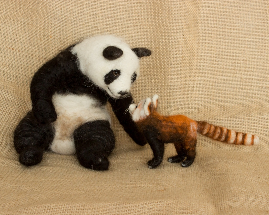 Needle Felted Mei Xiang and Rusty by Megan Nedds