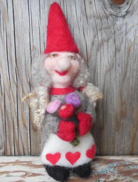Needle Felted Valentine Gnome